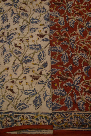 Maroon with Indigo Leaves Printed Kalamkari Mul Cotton Saree