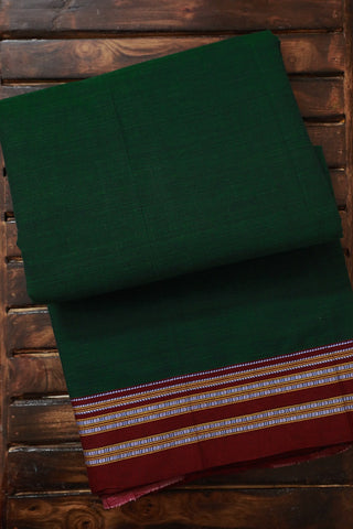 Double Side Pallu in Green Ilkal Cotton Saree