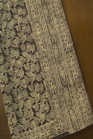 Black with Grey Printed Kalamkari Mul Cotton Saree