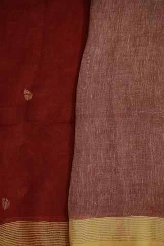 Rust Red with Beige Linen Jamdani Saree