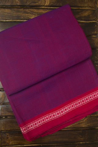 Purple with pink Handwoven Cotton Saree