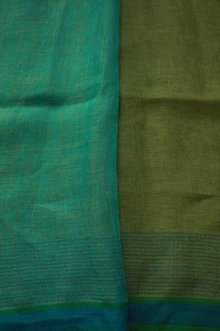 Light Olive Green with Blue Linen Jamdani Saree