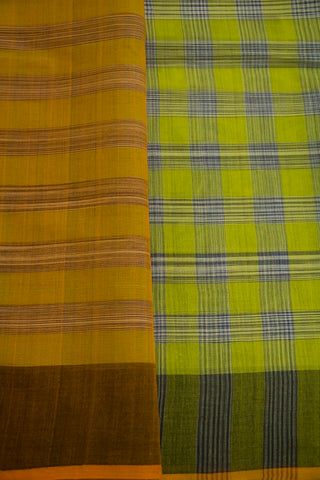 Green with Grey Checks Handwoven Cotton Saree