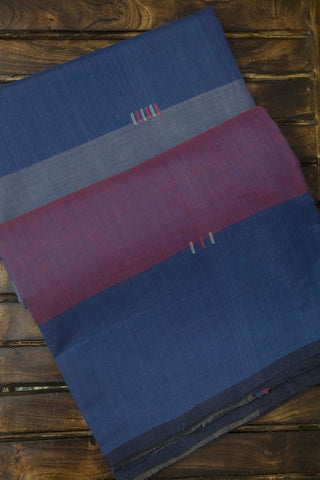 Shades of Blue with Purple Handwoven Cotton Saree