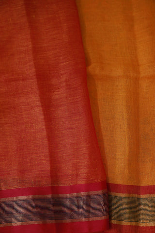Mango Yellow with pink Linen Jamdani Saree