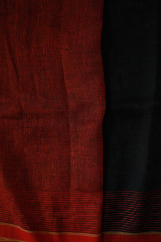 Black with Red Flower Linen Jamdani Saree