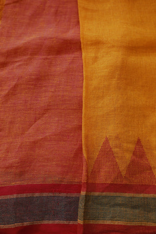Yellow with Pink Temple Border Linen Jamdani Saree