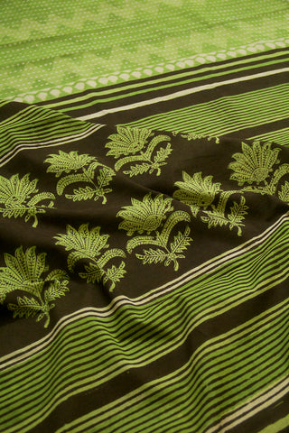 Black with Pear Green Leaf Border Dabu Print Mul Cotton Saree