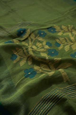 Leaf Green with Blue Floral Linen Jamdani Saree