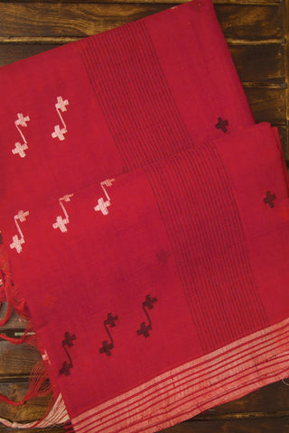Red Fine Cotton Jamdani Saree