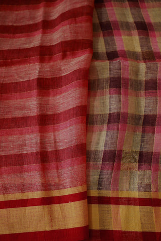 Checks Linen Jamdani Saree