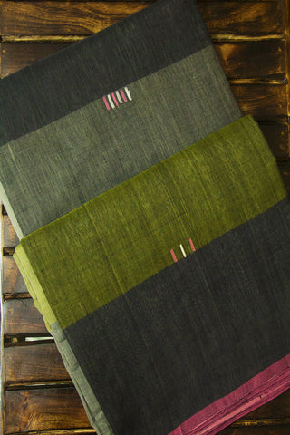 Shades Of Grey with Green Handwoven Cotton Saree