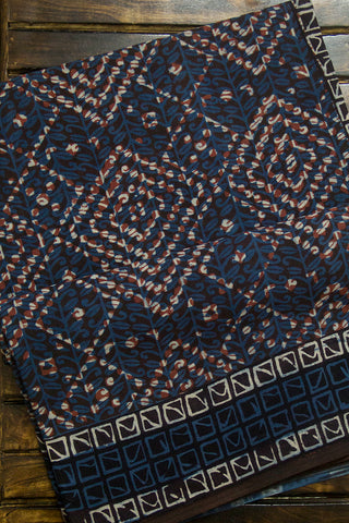 Indigo Blue Squares Dabu Print Mul Cotton Saree