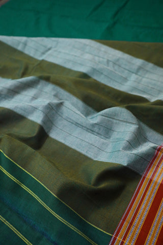 Dark Pine Green Double Side Pallu Ilkal Saree