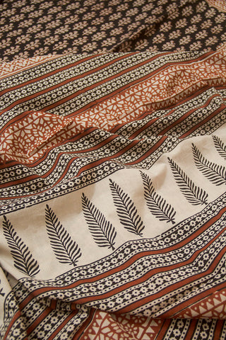 Black with Brown Bagru Print Mul Cotton Saree