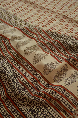 Light Beige with Brown Bagru Print Mul Cotton Saree