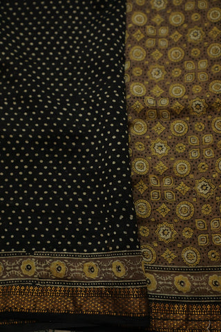 Stars and Circles Ajrak Silk Cotton Saree