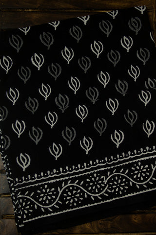 Black with Grey Mul Cotton Saree