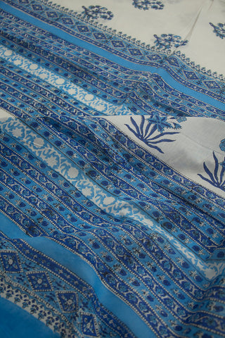 Blue Flower Sanganeri Print Mul Cotton Saree