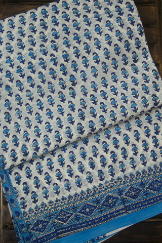Shades of Blue Sanganeri Print Mul Cotton Saree