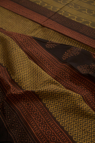 Dark Olive Green Natural Dyed Block Printed Mul Cotton Saree