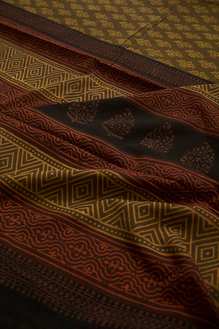 Moss Green with Fenugreek Yellow Natural Dyed Block Printed Mul Cotton Saree