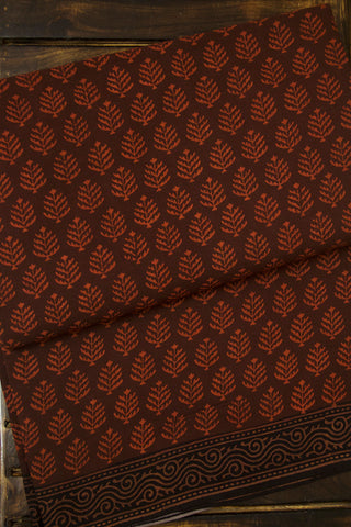 Dark Brown with Leaf Natural Dyed Block Printed Mul Cotton Saree