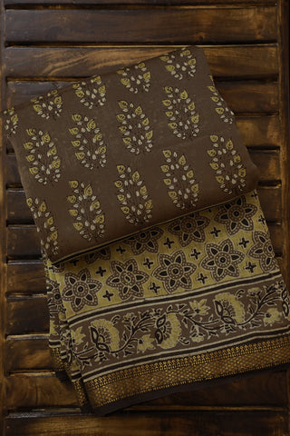Brownish Grey Ajrak Silk Cotton Saree