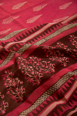 Pink with Off White Dabu Print Mul Cotton Saree