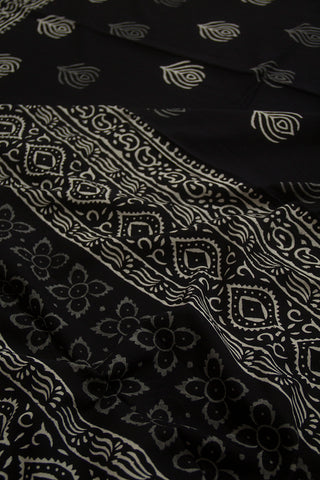 Black with White Peacock Feather Design Mul Cotton Saree