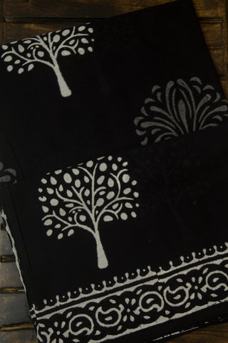 White with Grey Tree Black Mul Cotton Saree