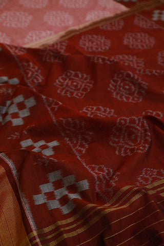 Double Shade Maroon Handwoven Orissa Ikat Saree