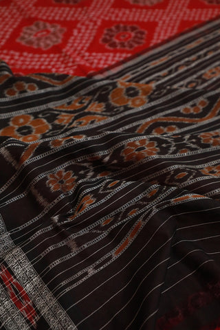 Red Floral Handwoven Orissa Ikat Saree