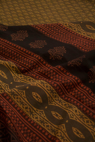 Small Leaf Floral Natural Dyed Block Printed Mul Cotton Saree