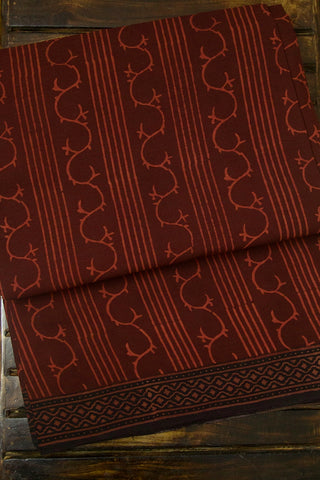 Maroon Lines and Curves Natural Dyed Block Printed Mul Cotton Saree