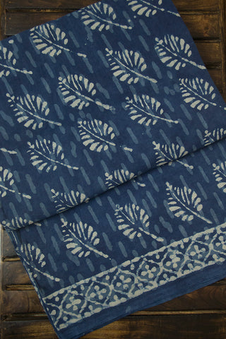 Subdued Indigo Leaf Dabu Print Mul Cotton Saree