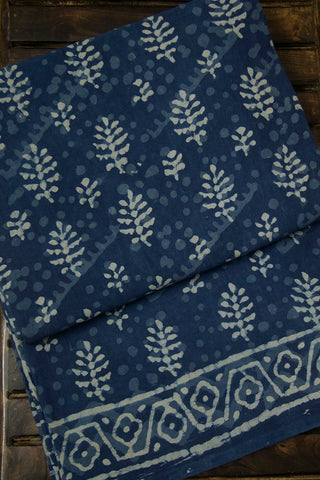 Faded Indigo with Leaf Floral Dabu Block Printed Mul Cotton Saree