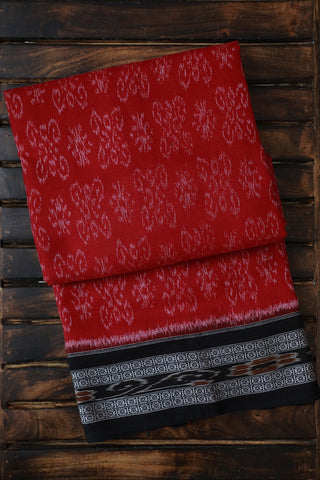 Black Thread Border in Red Handwoven Orissa Ikat Saree