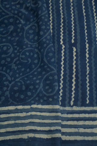 Subdued Indigo Lines Dabu Print Mul Cotton Saree