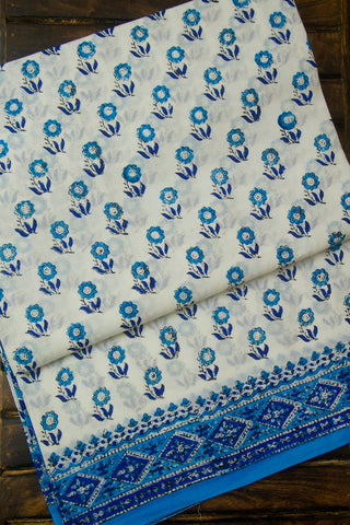 White with Blue Flowers Sanganeri Print Mul Cotton Saree