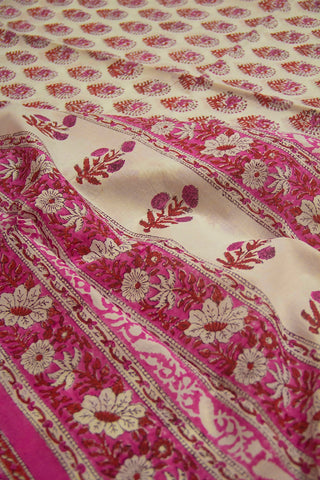 Pink with Red Sanganeri Print Mul Cotton Saree