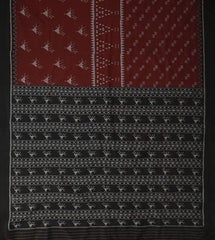 Dark Maroon with Grey Handwoven Orissa Ikat Saree