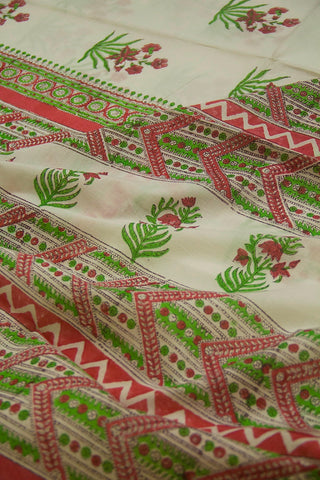 Peach Flower Bunches Sanganeri Print Mul Cotton Saree