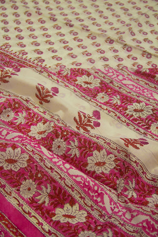Pink Flowers Sanganeri Print Mul Cotton Saree