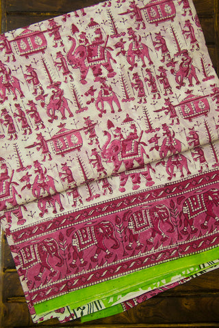 White with Peach Sanganeri Print Mul Cotton Saree