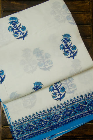 White with Sky Blue Flower Sanganeri Print Mul Cotton Saree