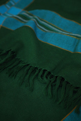 Dark Green with Blue Border Woolen Stole