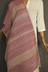 Double Shade Maroon Handwoven Cotton Stole