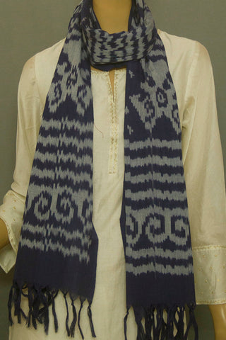 Natural Indigo Handwoven Ikat Cotton Stole