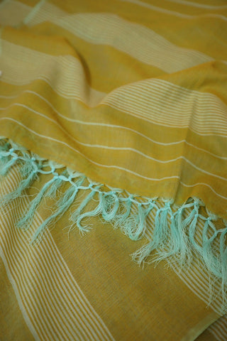 Greenish Yellow Handwoven Cotton Stole